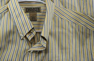 Duluth Trading Co Men's Size L Yellow Blue Stripe Long Sleeve Button Front Shirt