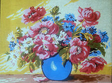 """Needlepoint tapestry painted canvas - Flowers in a vase (18""""x24"""") Gobelin D503"""