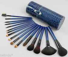 16pc Deep Blue Makeup Brushes in  Blue Crocodile Pattern Round Cup Holder Case