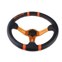 350mm/14in 6 Bolt Orange Leather Car Steering Wheel Frame W/Horn Button WT