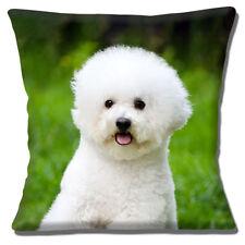 """CUTE BICHON FRISE PUPPY DOG PHOTO PRINT GREEN WHITE 16"""" Pillow Cushion Cover"""