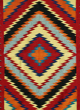 Colorful Churro Navajo Dazzler Rug w Indigo, Hand-dyed yarn 37x58