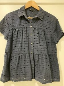 Madewell by J Crew broderie blouse navy short sleeve size M