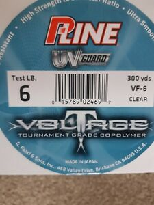 P LINE VOLTAGE TOURNAMENT GRADE CO POLYMER FISHING LINE 300 YDS VF-  CLEAR SALE