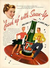 1946 Seven Up PRINT AD 7Up Teenagers Dancing on Record
