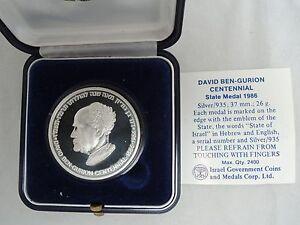 ISRAEL 1986 DAVID BEN-GURION CENTENNIAL OF BIRTH MEDAL 26g SILVER +COA + BOX