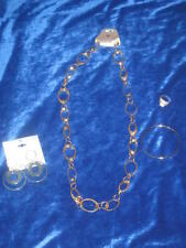 Worthington Loopy Necklace + Bangle + Cz Ring 7 + Gift