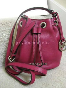 Michael Kors Jules Drawstring Leather Crossbody Bag Purse Deep Pink New Tag