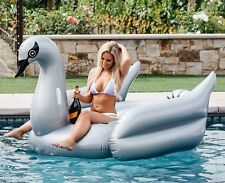 Mimosa Inc Silver Swan Inflatable Premium Quality Giant Size Pool Toy Float Raft