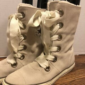 Converse Chuck Taylor All-Star Beverly Ivory Suede Lace-up Boots, Size 10 NICE!