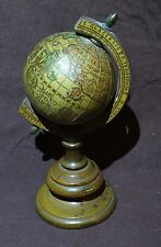 """Vintage Wood Metal Rotating Globe on Stand Italy Old World Map 7.5"""""""
