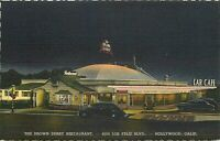 Linen Postcard CA Da171 The Brown Derby Restaurant Los Feliz Hollywood Night