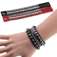 Multicolored Chain Gothic Bracelet Punk Rock Spikes Rivet Wide Cuff Leather Wrap