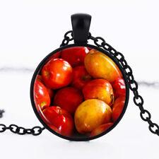 Apples Black Dome Glass Cabochon Necklace chain Pendant #26