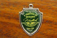 Mountains Travel Shield charm #E20 Vintage silver Woodloch Pines Resort Pocono