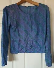 BOHO Silk Cropped Nina Proudman Style Top Blue Purple Size 10/12