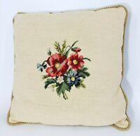 Vintage/Retro Handmade Needlepoint Pillow Floral Flower Poppy 21 x 21 Red Velvet