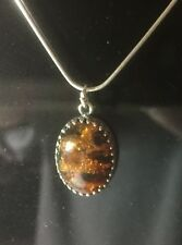 baltic amber necklace 16inch Stirling Silver.