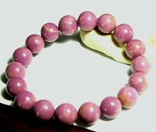 Bracelet Mica Pink Bead, 11x11mm beads,appx dia 2in ins, 3in out,1.25oz,MI-A02