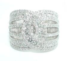 Wide Diamond Band Ring 14K Wg 2.5 Ct Brilliant Interlocking Horse Shoe Design