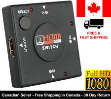 HDMI Switcher 3 Port AV Switch Selector Adapter Converter Splitter Hub HDTV PC