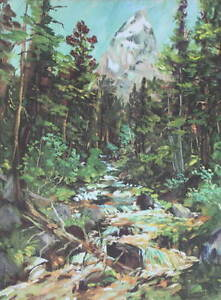 "Vintage Creek thru Woods Tetons, by Archie ""Teton Teeter 1950s print"