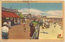 South End Beach and Boardwalk in Ocean Grove NJ Postcard 1952