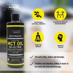MCT Oil C8-Ultra 500ml Organic Coconut Oil with Caprylic Acid