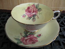 PARAGON BONE CHINA CUP & SAUCER PALE YELLOW PINK ROSE