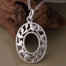 925 Gorgeous Silver Maenad Oval Leaf Pendant Necklace Priestess Dionysus Bacchus