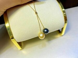 gorgeous 9-10mm south sea round gold black pearl pendant 18k