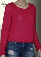 NEW$68 ABERCROMBIE Women Dark Pink Knit Sweater Cardigan S SMALL Alpaca Wool