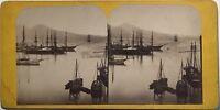 Napoli Port E Vesuvio Italia Fotografia Stereo Vintage Albumina c1865