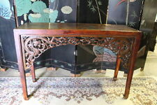 "Antique 19th C.Chinese Hand-carved 34"" Alter Table Fretwork w/Dragons c. 1850"
