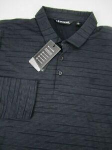 Mens XXL Travis Mathew Extra Olives black striped long sleeve polo shirt