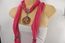 Women Pink Scarf Soft Fabric Fashion Long Necklace Glass Flower Round Pendant