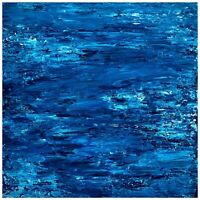 Abstract Painting Blue Water Landscape Original 18x18 Canvas Mirae Lnenicka