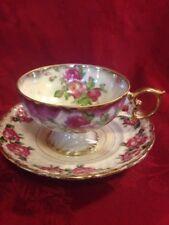 Vintage Luster Cup & Saucer Pedestal Base Roses