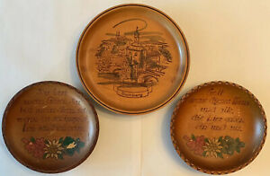 SET OF THREE (3) GERMAN LANGUAGE CARVED WOODEN PLATES/WALL HANGINGS-CIRCA 1950's
