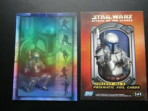 """Star Wars 2002 Episode 2 Attack Of The Clones US - """"Prismatic Foil"""" Cards (e33)"""
