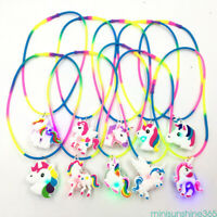 Rainbow Silicone Unicorn LED Light Up Necklace Xmas Party Favors Kids Toy Gifts