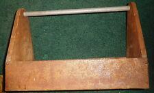 Vintage HANDMADE CARPENTERS WOOD &  METAL TOOL BOX,carry tray,storage tote