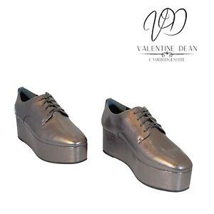 Calvin Klein Natalye Rock Women's Shoes Platform Gunmetal Leather Size 6 Uk