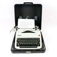 Vintage 1970 Olympia De Luxe SM9 Typewriter with Carrying Case - Gray
