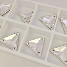 6 x 22 mm SWAROVSKI CRYSTALS CLEAR TRIANGLE sew on feature stones jewels large