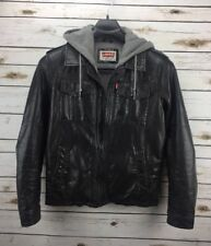 Levis Black Faux Leather Men's Sz Small Jacket Sweatshirt Lining and Hood Coat