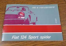 Uso e manutenzione Fiat 124 Sport Spider terza serie III series high quality