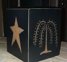 New listing Wood Primitive black Tissue Kleenex Box cover crow willow tree stars pineapple