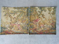 2 French Vintage Romantic Scene Colored Tapestries