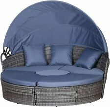 More details for outsunny outdoor garden rattan round sofa sun daybed set with cushions, grey